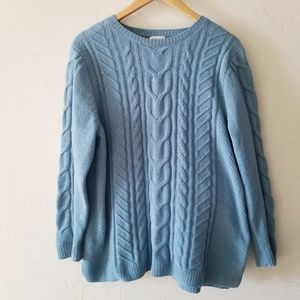 J. Jill Chenille Cable Knit Pullover Sweater Large